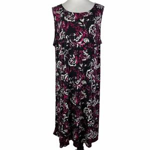 Julian Taylor Black Pink Floral Sleeveless Dress
